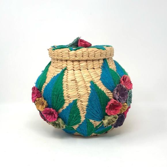 Vintage Raffia Woven Floral Basket Jar with Lid